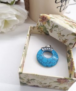 Sleeping beauty Turquoise stone – Turquoise jewelry sleeping beauty round silver pendant for protection