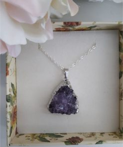 Druzy amethyst pendant necklace. price, meaning