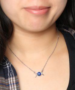 Blue Lapis Lazuli Necklace. Natural Lapis necklace. Descending necklace. Dark blue stone jewelry. Genuine Lapis necklace