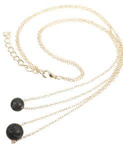 Black Lava Stone Essential Oil Perfume Diffuser Pendant Necklace Charms Jewelry Women