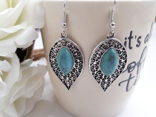 Blue healing crystal earrings, crystal healing earrings. Teardrop Silver Turquoise Earrings – Leaf Turquoise Earrings – Turquoise Dangle Earrings