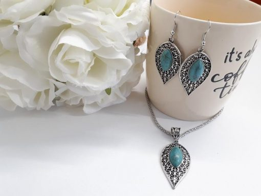 EMF protection pendants necklaces, faux turquoise layered necklace. Genuine Turquoise Earrings and Necklace