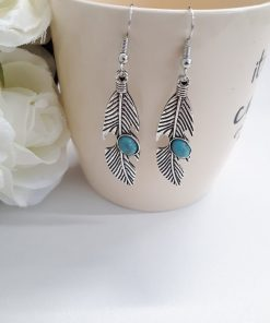 Genuine Turquoise Earrings – Blue Stone Dangle Earrings. December Birthstone Jewelry, Feather Jewelry, Turquoise Jewelry For Women
