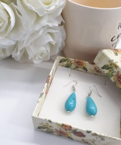 Reiki earrings studs, reiki healing earrings. Teardrop Turquoise Earrings – Sterling Silver Dangle Earrings