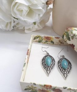 Sleeping Beauty Teardrop Turquoise Earrings. Turquoise Dangle Earrings – Sterling Silver Earrings – Sleeping Beauty Teardrop Turquoise Earrings