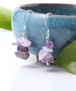 Amethyst Earrings – Chip Stone Earrings – Silver Earrings – Natural Amethyst Jewelry – Chip gemstone earrings – Dangle Earrings for Women