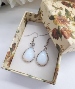 Healing crystals for confidence. Genuine Opal Earrings – White Stone Dangle Earrings. Opal Earring For Women Teardrop Earrings