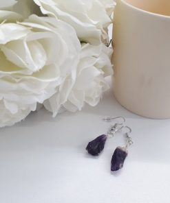 Crystal for wealth and luck. Raw Amethyst Earrings – Rough Gemstone Earrings with Amethyst Crystal – Purple Drop Dangle Earrings