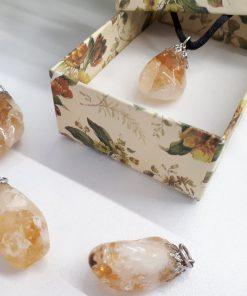 Citrine crystal Cotton Cord pendant. best healing crystal for wealth - crystal for wealth and success