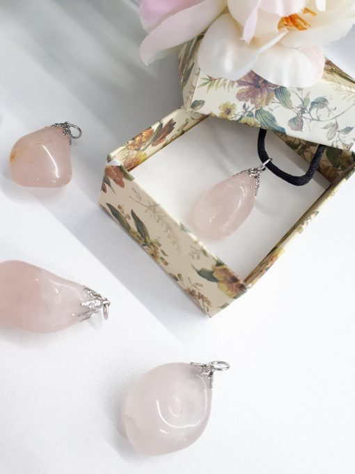 Rose Quartz Necklace – Rose Quartz pendant. best crystal for true love, best crystal for universal love
