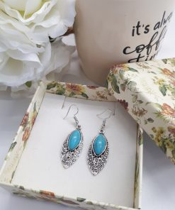 Blue healing crystal earrings, crystal healing earrings. Teardrop Silver Turquoise Earrings – Leaf Turquoise Earrings – Turquoise Dangle Earrings