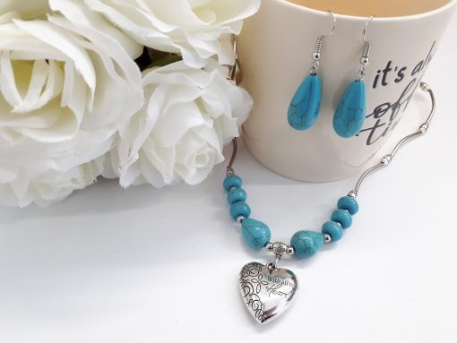Mother protection necklace, Oval Dangle Turquoise Earrings for Women. Heart Silver Turquoise Set – Teardrop Silver Turquoise Earrings