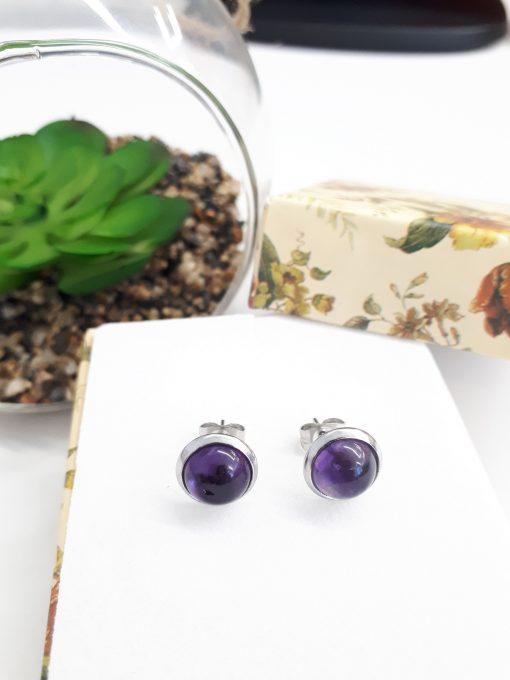 Protection eye Earrings,protection from evil Earrings. Amethyst stud Earrings set. Tiny Silver Earrings Amethyst Silver Stud Earrings