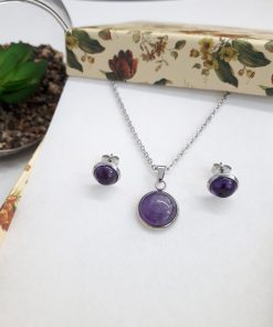Protection eye necklace,protection from evil necklace. Amethyst stud Earrings and pendant set. Tiny Silver Earrings Amethyst Silver Stud Earrings