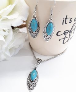 love and protection dogeared necklace, Oval Teardrop pendant and earrings Turquoise Set. Oval Teardrop Turquoise Set – Teardrop Oval Silver Turquoise Earrings – Turquoise Pendant Necklace