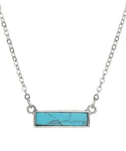 Crystals for calming the mind, crystals to calm the mind. Bar necklace for women. Turquoise bar silver necklace