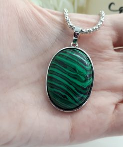 Malachite Pendant - Malachite oval talisman for protection while traveling - Best Crystal for physical protection