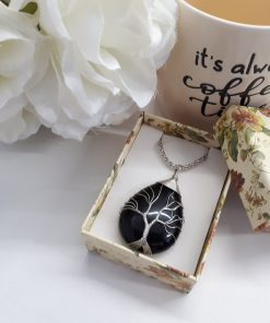 Black Tourmaline tree of life pendant for necklace