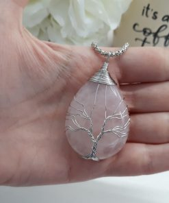 Rose Quartz tree of life pendant - Rose Quartz tree of life stone for unconditional love