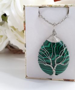 Malachite tree of life pendant for necklace