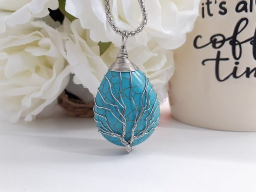 Turquoise tree of life pendant. Turquoise tree of life gift stone for Protection & Chakra healing