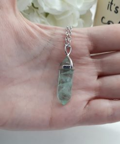 Green Fluorite Point Pendant - fluorite stone Jewelry for removing negative energy, best crystal for heart chakra