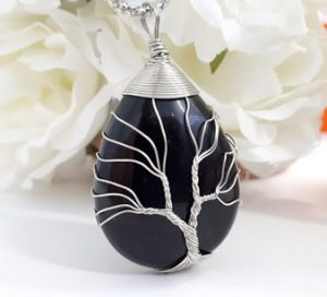 Black Tourmaline tree of life pendant for necklace. Black Tourmaline for EMF protection- Best EMF protection stone